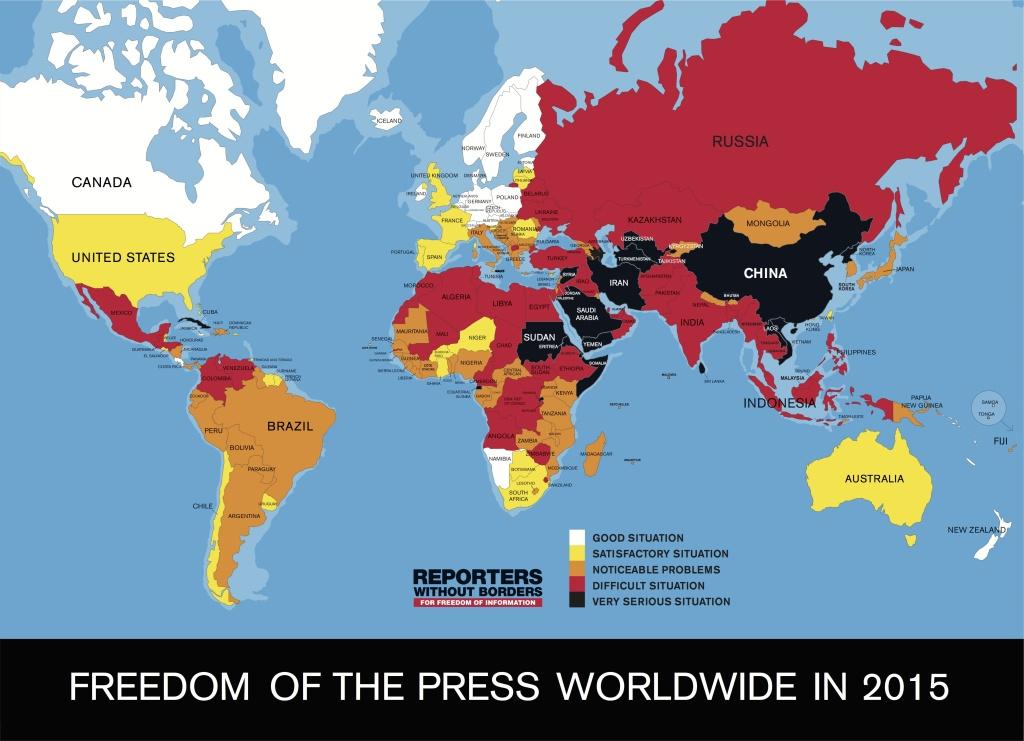 Karte der Pressefreiheit 2015