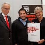 v.l.n.r.: Albert Rohan (öst. Außenmin. a.d.) Giorgos Moutafis (Journalist und Dokumentarfilmer), Rubina Möhring (Präsidentin ROG Österreich)